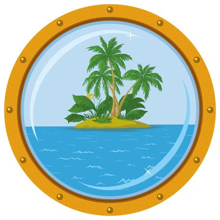 Tropical sea island with palm trees, view from the bronze ship window - porthole. Vector Vector