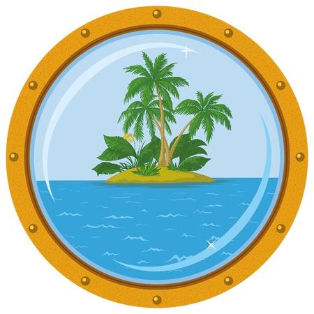 Tropische zee eiland met palmbomen, uitzicht vanaf de bronzen schip venster - patrijspoort. Vector