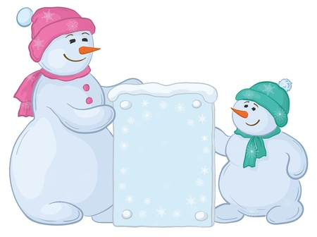 Snowman mother and son with a banner for your text. Vector Vector