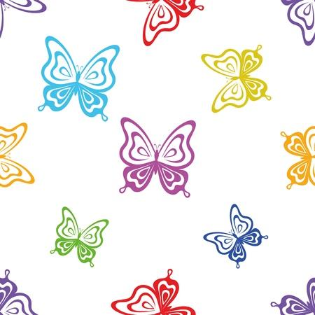 Seamless background, various symbolical butterflies, coloured contours on a white background. Vector Stock Vector - 11274876