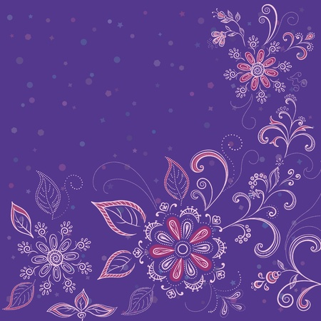 Abstract background with a symbolical flowers and contours. Vector Vector