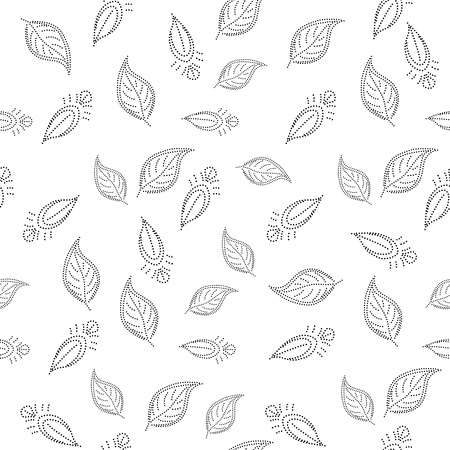 leaf shape: Abstract seamless background with a symbolical leaves, contours. Vector Illustration