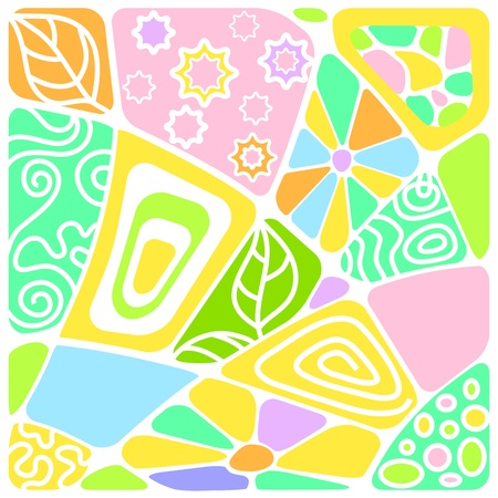 Abstract mosaic background of the different elements with patterns. Vector Vector
