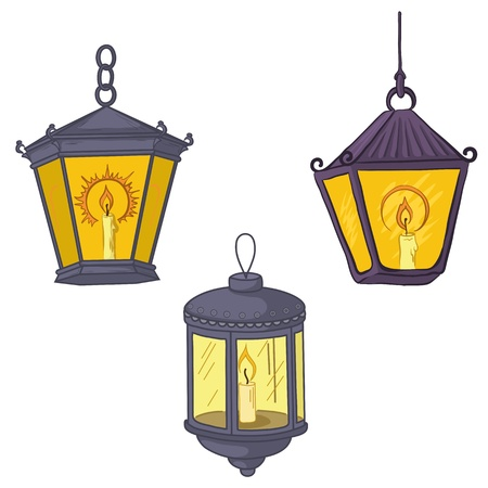lit candles: Set vintage street luminescent lanterns which burn candles. Vector