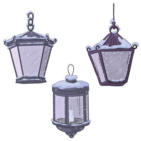 streetlight: Set vintage street non-luminous lanterns with extinct candles, covered with snow. Vector Illustration