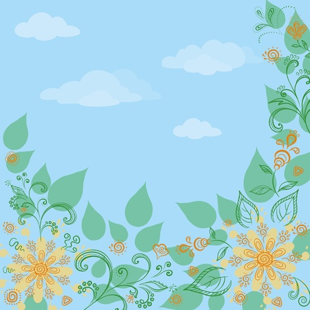 flowers and leaves on a on a background of blue sky, vector Vector