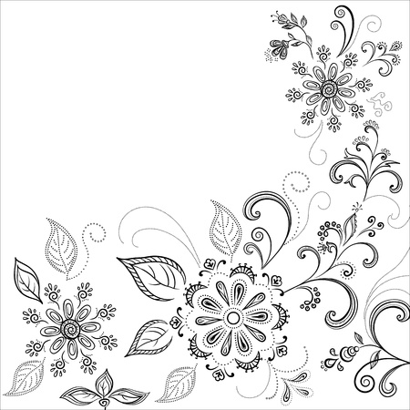 Floral background, symbolical flowers and leafs, contours. Vector