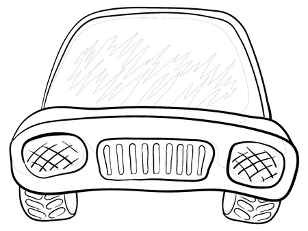 Cartoon: car, monochrome contours on white background. Vector Vector
