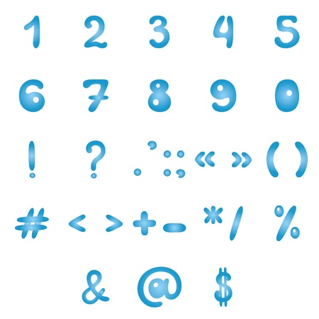 Figures and signs, blue on white background. Vector Vector