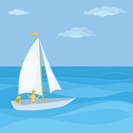 Sailing boat with a man and a woman floating in the blue sea. Vector Vector