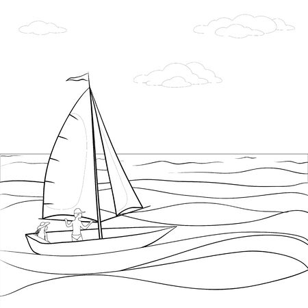 woman floating: Sailing boat with a man and a woman floating in the sea, contours. Vector Illustration