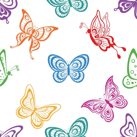 butterfly silhouette: Seamless background, various symbolical butterflies, coloured contours on a white background. Vector