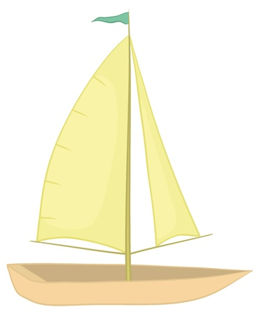 Sailing boat with a flag on the mast, isolated on white background. Vector
