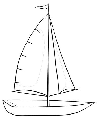 ausflug: Segelboot mit einem Flagge am Mast, monochrome Konturen auf wei�em Hintergrund. Vektor-Illustration