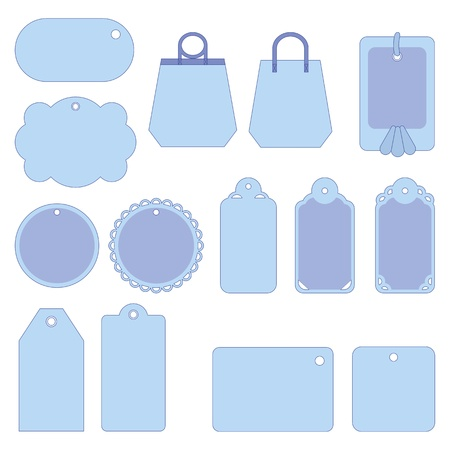 Set of blue labels and tags isolated on white background. Vector Stock Vector - 11383072