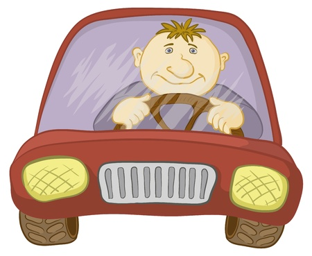 front wheel drive: Cartoon, car with a man driver, isolated on white. Vector