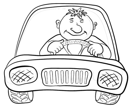 front wheel drive: Cartoon, car with a man driver, contours on white. Vector