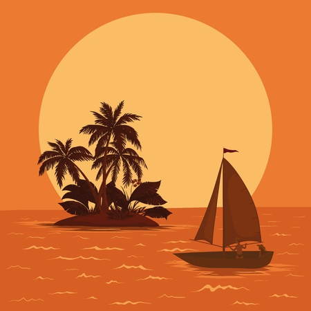 Sailing boat with a people floating in the tropical sea against the backdrop of the island with palm and sun. Vector Vector