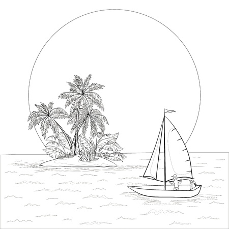 Sailing boat with a people floating in the tropical sea against the backdrop of the island with palm and sun, contours. Vector Vector