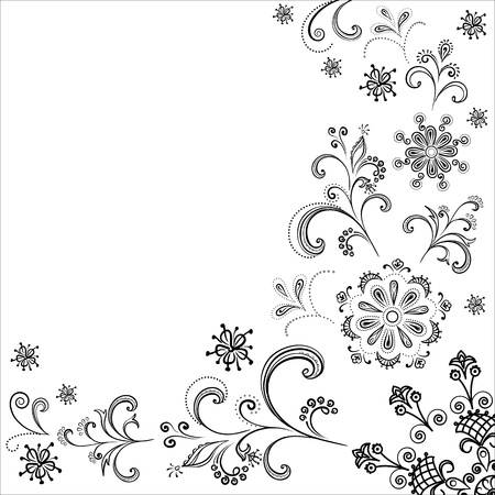 Floral background, symbolical flowers and leafs, contours. Vector Stock Vector - 11383084