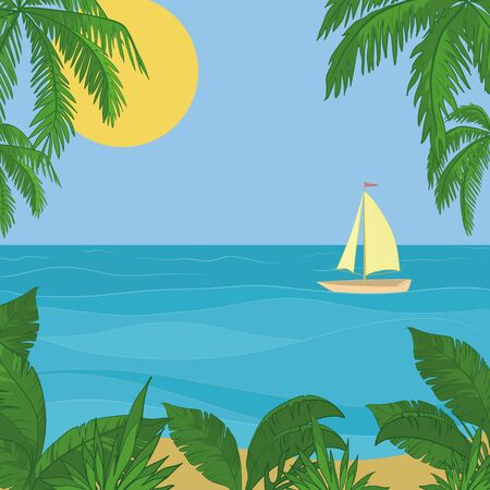 Sailing ship floating in the blue sea, the view from a tropical island. Vector Illustration
