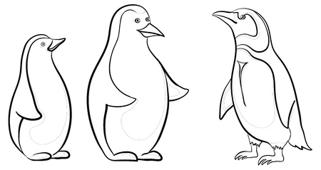 floe: Antarctic emperor penguins, black contours on white background. Vector Illustration