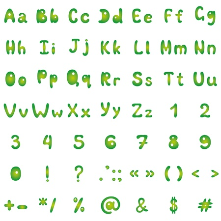 Alphabet, figures and signs, green on white background. Vector Vector