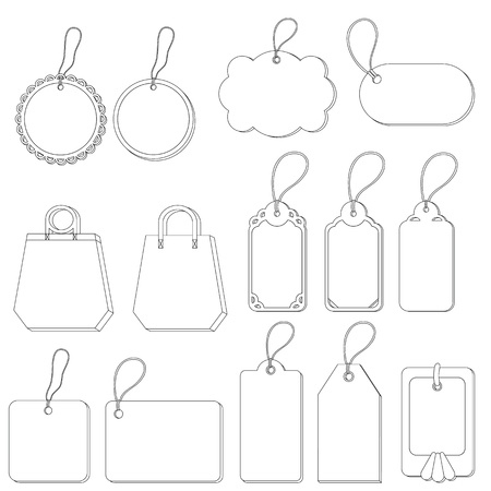 Set of labels and tags with ropes, contours on white background. Vector