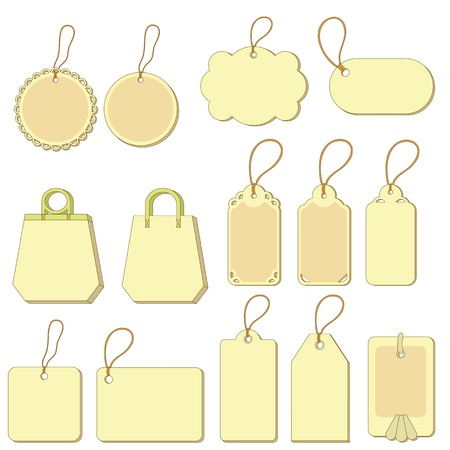 Set of yellow labels and tags with ropes on white background. Vector Stock Vector - 11383090