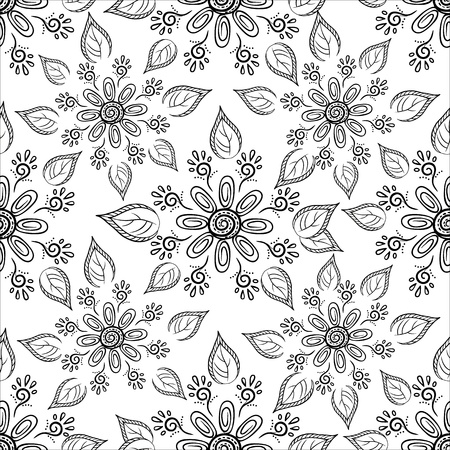 seamless floral background, symbolical flowers and leafs, contours. Vector Vector
