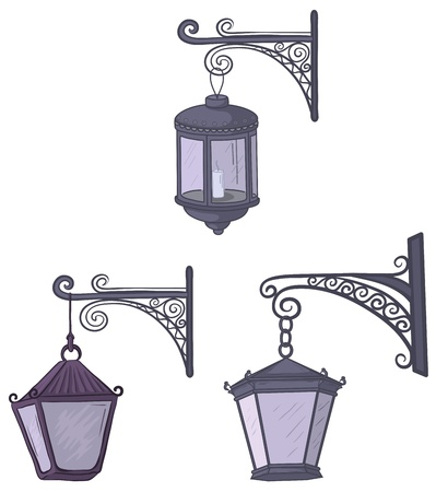 extinct: Set vintage street non-luminous lanterns with extinct candles, hanging on a decorative brackets. Vector