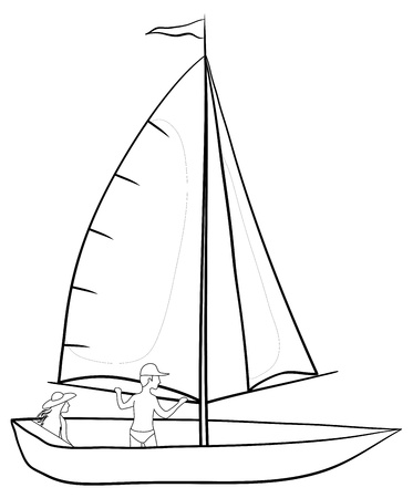 Sailing boat with a man and a woman, contours on white background. Vector Vector