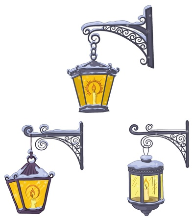 Set vintage street luminescent lanterns covered with snow, hanging on a decorative brackets. Vector