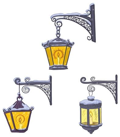 lampposts: Establecer cosecha calle luminiscentes faroles cubiertos de nieve, colgando de una soportes decorativos. Vector