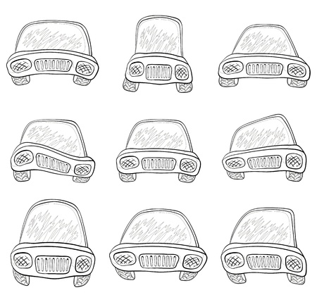Cartoon: set various cars, monochrome contours on white background. Vector Vector