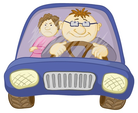 car driver: Cartoon, car with a man driver and passenger a woman. Vector