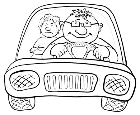 Cartoon, car with a man driver and passenger a woman, contours. Vector Illustration