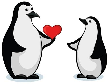 Antártida y el emperador negro blanco pingüinos de San Valentín con el corazón rojo. Vector