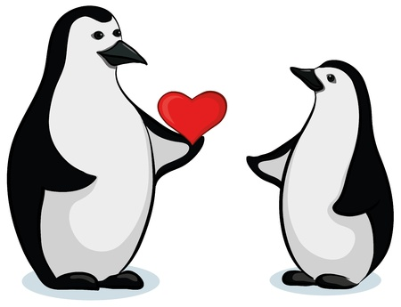 Antarctic czarno-białe pingwiny cesarza z Valentine czerwone serce. Wektor