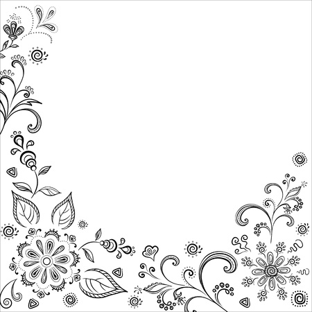 Floral background, symbolical flowers and leafs, contours. Vector Vector