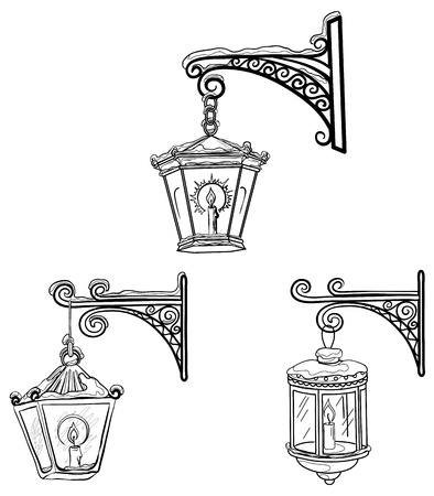lampposts: Set vintage street luminescent lanterns covered with snow, hanging on a decorative brackets. Contours. Vector