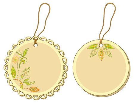 Etiquetas etiquetas redondas con motivos florales y cuerdas. Vector Foto de archivo - 11529440
