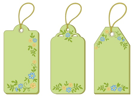 discount banner: Rectangular green labels tags with floral pattern and ropes. Vector Illustration