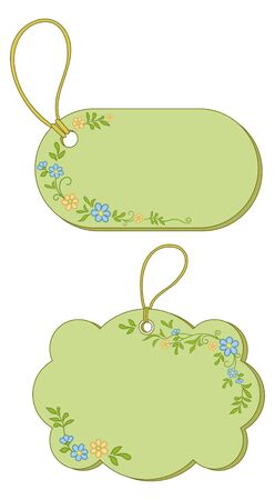 Green labels tags, oval and cloud, with floral pattern and ropes. Vector Vector