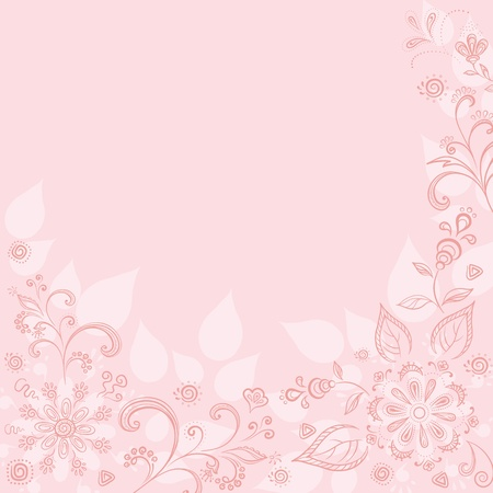 Abstract pink background with a symbolical outline flowers and leaves. Vector