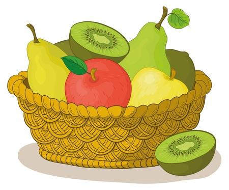 cesta de frutas: Naturaleza muerta, la cesta de wattled con frutas dulces: manzanas, peras, kiwi. Vector Vectores