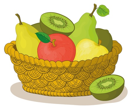 Still life, wattled basket with sweet fruits: apples, pears, kiwi. Vector Vector
