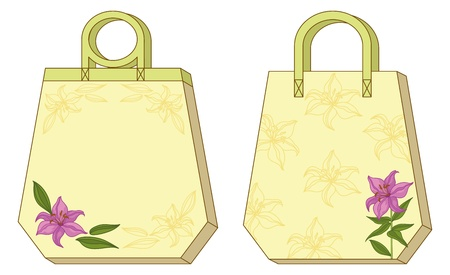 Hexahedron yellow labels tags with floral lily. Vector Vector