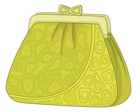 mujeres dinero: Mujer bolso verde para el dinero con patrones abstractos. Vector