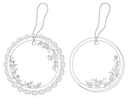 Etiquetas etiquetas redondas con motivos florales y cuerdas, curvas de nivel. Vector